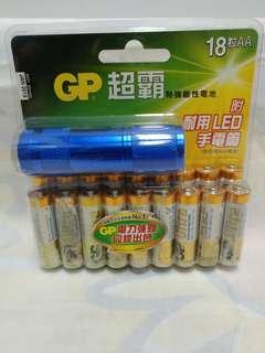 絕版全新超霸 GP 電池連 LED 手電筒套裝藍色 1 套