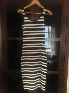 Cotton On Black & White Striped Bodycon Dress