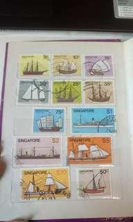 郵票 新加坡 帆船一套