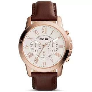 Fossil  Grant Cream Dial Brown Leather Analog Chronograph Men Casual Watch