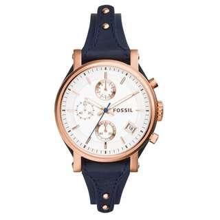 Fossil  Original Boyfriend Chronograph Blue Leather Ladies Fashion Watch