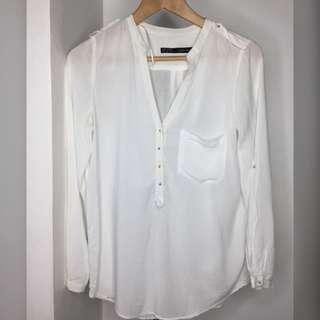 Zara White Polo Top