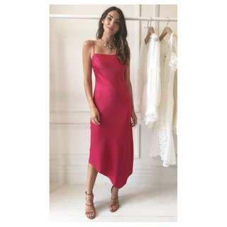 BNWT CAMILLA & MARC RASPBERRY SIROCCO SLIP DRESS - SIZE 6 RRP $550