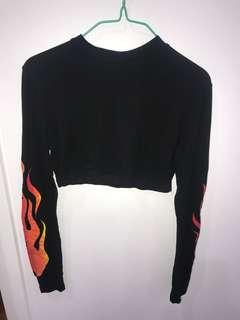 Cropped PPL flame long sleeve