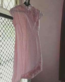 dress cheongsam pink