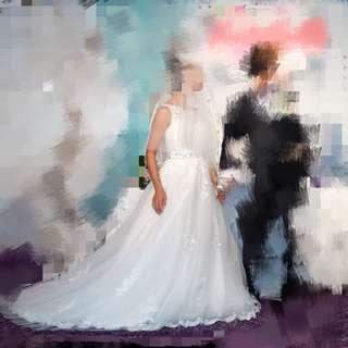 婚後物資 結婚用品 西式婚禮 新娘 拖尾 婚紗 chapel train wedding gown