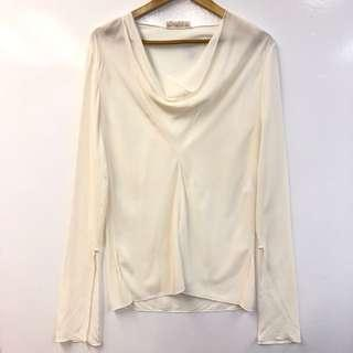 Chloe cream white silk top size 36