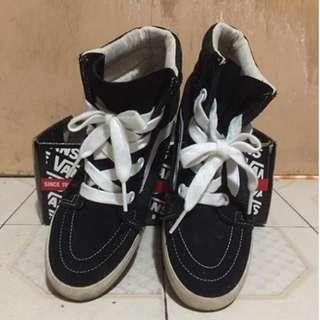 Vans Sk8-Hi Wedge 黑色 白色 增高鞋