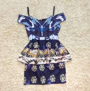 Runway Printed Peplum off shoulder Dress