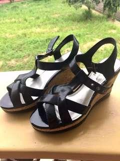 ‼️Repriced- Black Strappy Wedge