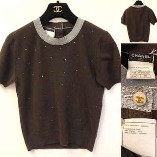 Chanel cashmere brown top size 38