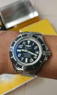 百年靈 BREITLING Superocean II ,1500m深潛水錶,全套齊有單, 好新浄,42mm, 抵玩價@@@ball seiko tudor rolex iwc