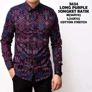 Kemeja Batik Songket PURPLE Saiz L shj