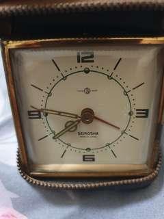 Vintage Seikosha hand winding travel alarm clock