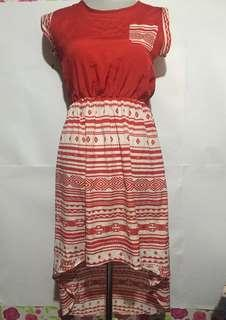 Red Aztec high-low Dress