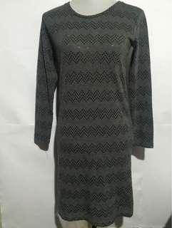 Korean-inspired Gray Sequined Sweater Dress