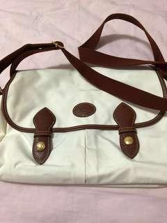 Longchamp White Sling Brown