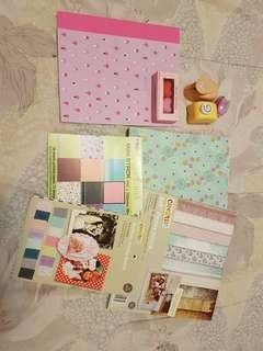 Scrapbook Papers 8 × 8 inches + FREE Notebook & Heart Erasers
