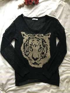 Gold Tiger Print Sweater