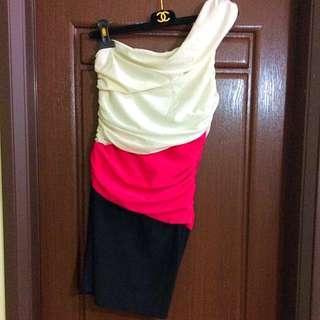🚚 斜肩洋裝小禮服