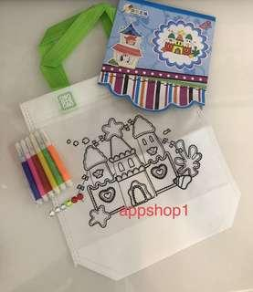 Castle (new) coloring hand carry bag- goodies bag packages, kids party goodie favors