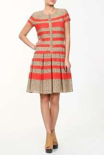 BCBG two tone lace striped sleeve dress