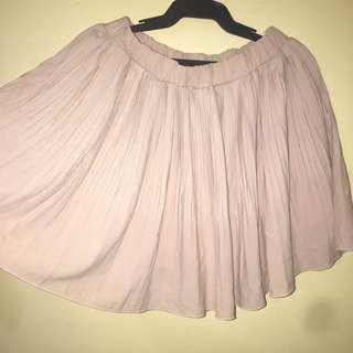 Pleated old rose mini skirt korean