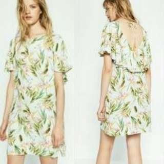 ZARA tropical shift dress with back details