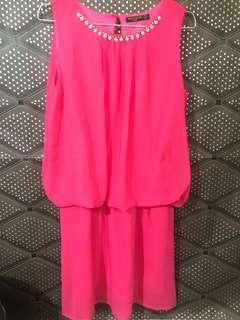 Dress / terusan / gaun warna shock pink