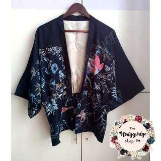 Deep Blue Silky Kimono Cardigan with Phoenix Print