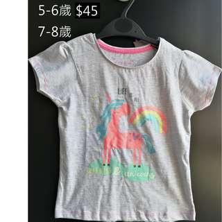 [全新] 英國直送primark 小童獨角獸上衣tshirt 7-8歲