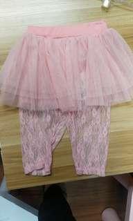 🚚 女童蕾絲假兩件裙