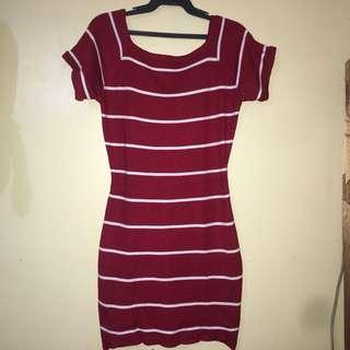 Sexy red stripes dress semi knitted stretch