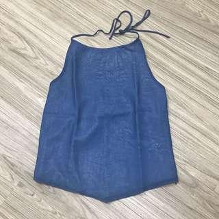 Atasan Halter neck Backless merk Arithalia sz S. LD 74cm. Panjang baju 48cm.