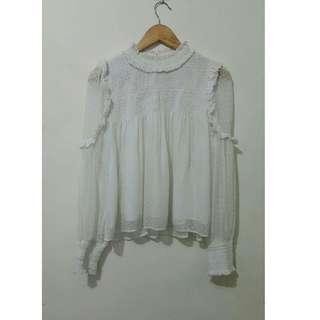ZARA white high neck plumentis top