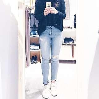🚚 【正韓】Labor淺色刷破牛仔褲