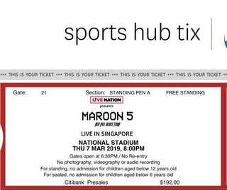 SELLING MAROON 5 TICKETS