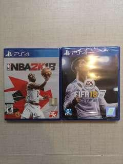 PS4 Games NBA2K18 + FIFA 18 (Both Brand new)