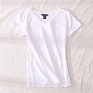 現貨+預購[S-XXXL]百搭彈力素T-V領短袖  棉T 素T  白T  T恤 短T  t恤 短袖 有彈性 彈力上衣 百搭 大尺碼