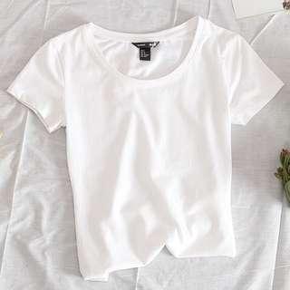 現貨+預購[S-XXXL]百搭彈力素T-圓領短袖  棉T 素T  白T  T恤 短T  t恤 短袖 有彈性 彈力上衣 百搭 大尺碼