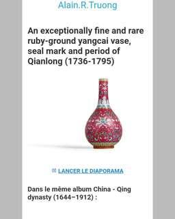 Guci Jahe Yangcai Vase Famille Rose / Dinasti Qing / Estimate 1736 - 1900