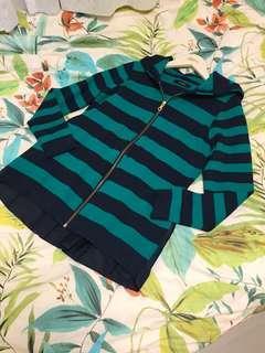 Zelal Sports two tone striped zipper jacket