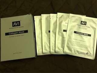 AVI Collagen Mask,每盒5片,現售每盒$50。「請勿議價」。  茘枝角交收(其他地點,日期時間互就)或另加郵寄費$8.0(郵寄不包風險)。  到期日:31/12/2021