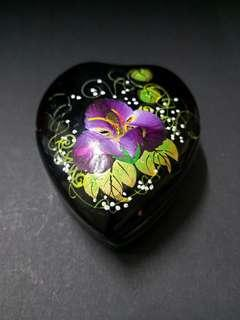 Orchid wooden heart shape jewelry box