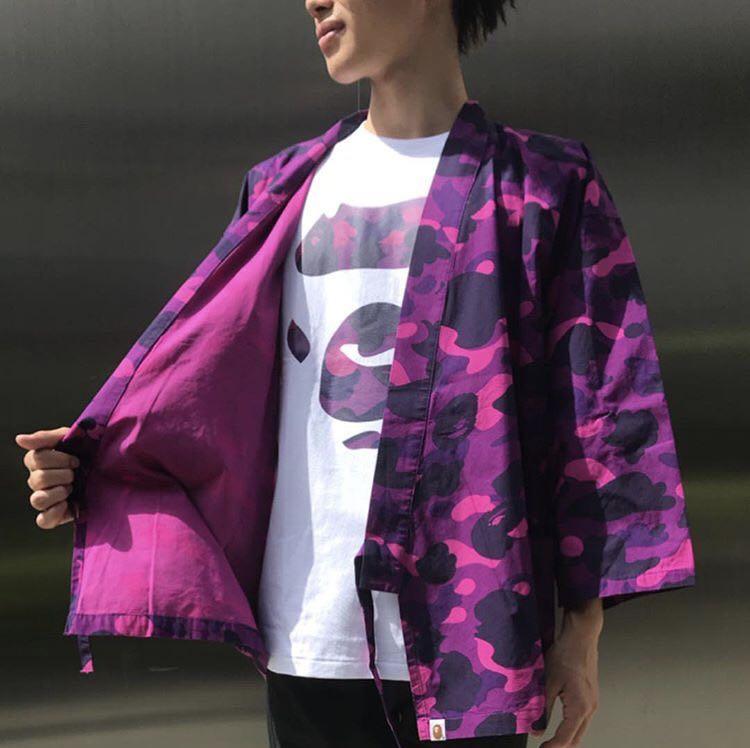 efe38c3dc BAPE COLOR CAMO KIMONO SHIRT, Men's Fashion, Clothes, Outerwear on ...