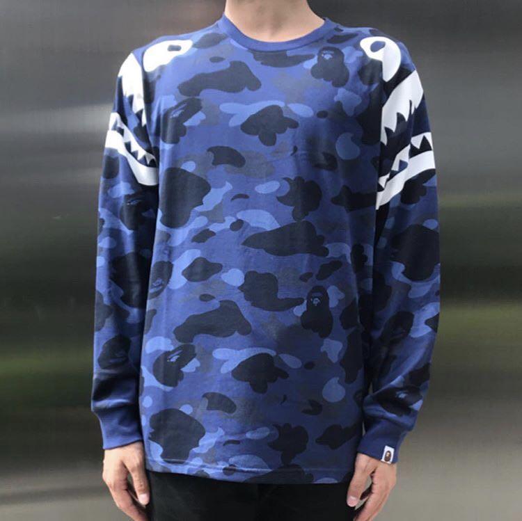 56d973037 BAPE COLOR CAMO SHARK SHOULDER L/S TEE, Men's Fashion, Clothes, Tops ...