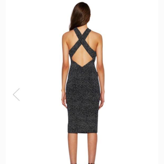 Bec & Bridge Amulet Twist Halter Dress in Black & White Spot.