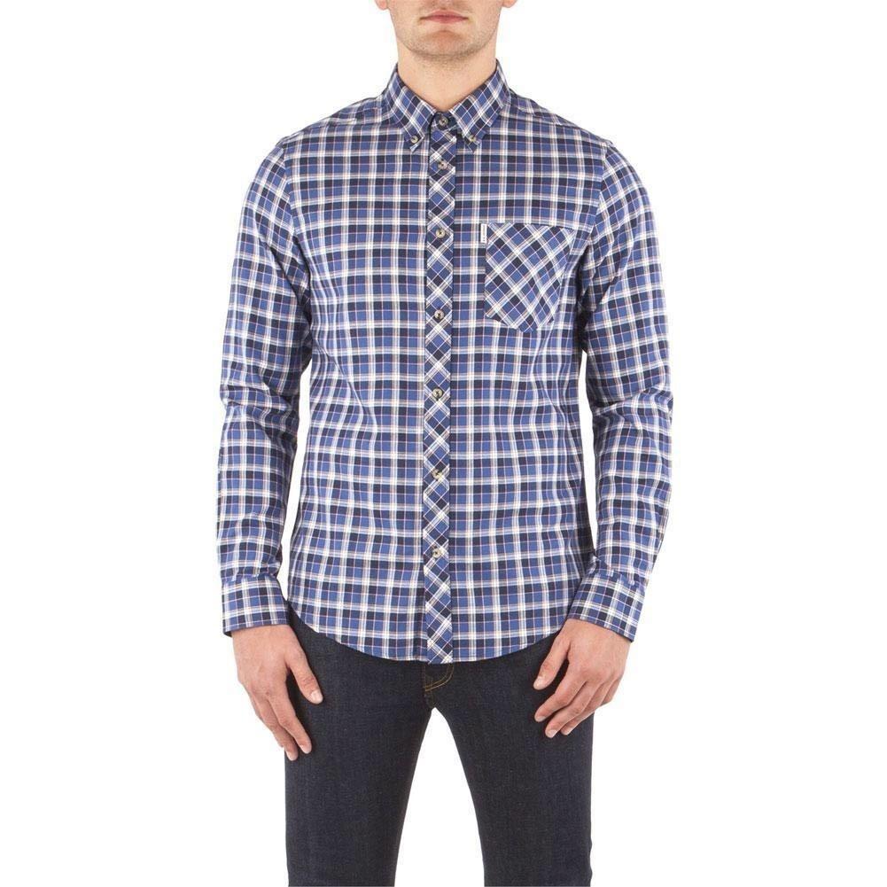 Ben Sherman - Herringbone Check Mens Button-Up Long Shirt