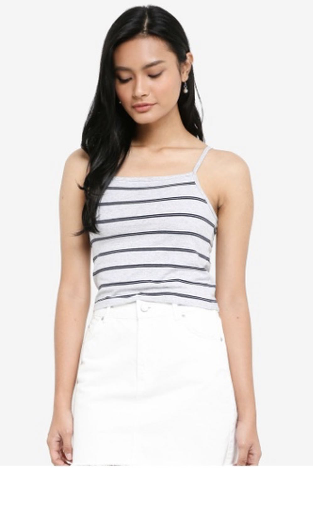 d6ee70336536d BNWT COTTON ON GREY STRIPED CROP TOP