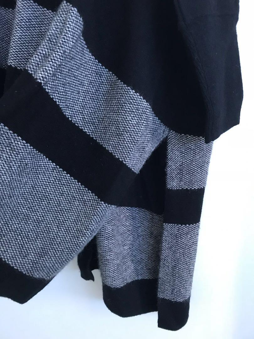 David Lawrence Drapey Cardigan Cashmere Stripes Black and White
